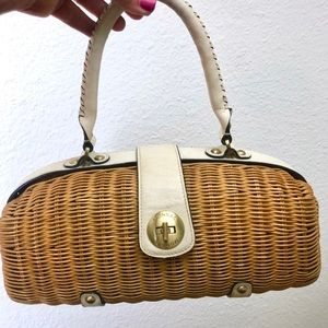 Monsac Rattan Straw Purse & Leather Satchel Purse